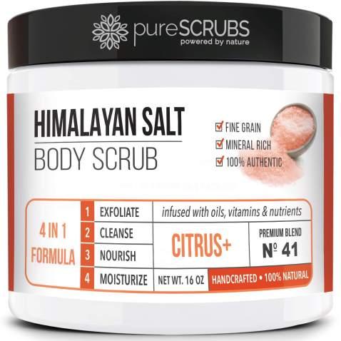 pureSCRUBS Premium Pink Himalayan Salt Body Scrub Set - Lg 16oz CITRUS SCRUB, Organic Essential Oils & Nutrients + FREE Wooden Stirring Spoon, Loofah & Mini Exfoliating Bar Soap