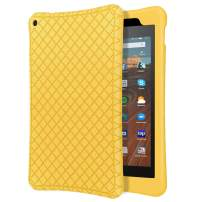 "MoKo Case Fits All-New Fire HD 10 Tablet (7th Generation/9th Generation, 2017/2019 Release), Shockproof Soft Silicone Back Cover [Kids Friendly] for Fire HD 10.1"" - Yellow"