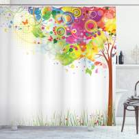 """Ambesonne Tree Shower Curtain, Color Bursting Tree of Life Colorful Pastoral Creative Design Modern Style Art Print, Cloth Fabric Bathroom Decor Set with Hooks, 84"""" Long Extra, Green Brown"""