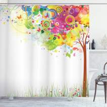 "Ambesonne Tree Shower Curtain, Color Bursting Tree of Life Colorful Pastoral Creative Design Modern Style Art Print, Cloth Fabric Bathroom Decor Set with Hooks, 84"" Long Extra, Green Brown"