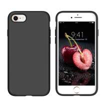 DUEDUE iPhone SE2 Case 2020, iPhone 8 Case, iPhone 7 Case, Liquid Silicone Soft Gel Rubber Slim Case with Microfiber Cloth Lining Cushion Shockproof Full Protective Cover for iPhone 7/8/SE2, Black