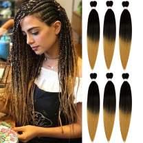 Pre-stretched Braiding Hair 6 Packs Easy Braid Professional Synthetic EZ-Braids Fiber Crochet Braiding Hair Extension Twist Itch Free 24 Inches (1B/27)