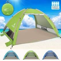 G4Free Large Pop Up Beach Tent 3-4 Person Sun Shelter Portable Automatic Cabana UPF 50+ Anti UV Sun Shade