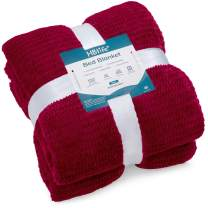 "HBlife Microfiber Luxury Flannel Fleece Blanket Queen Size, Super Soft & Cozy Waffle Weave Pattern Plush Blanket, 90"" x 90"" Burgundy"