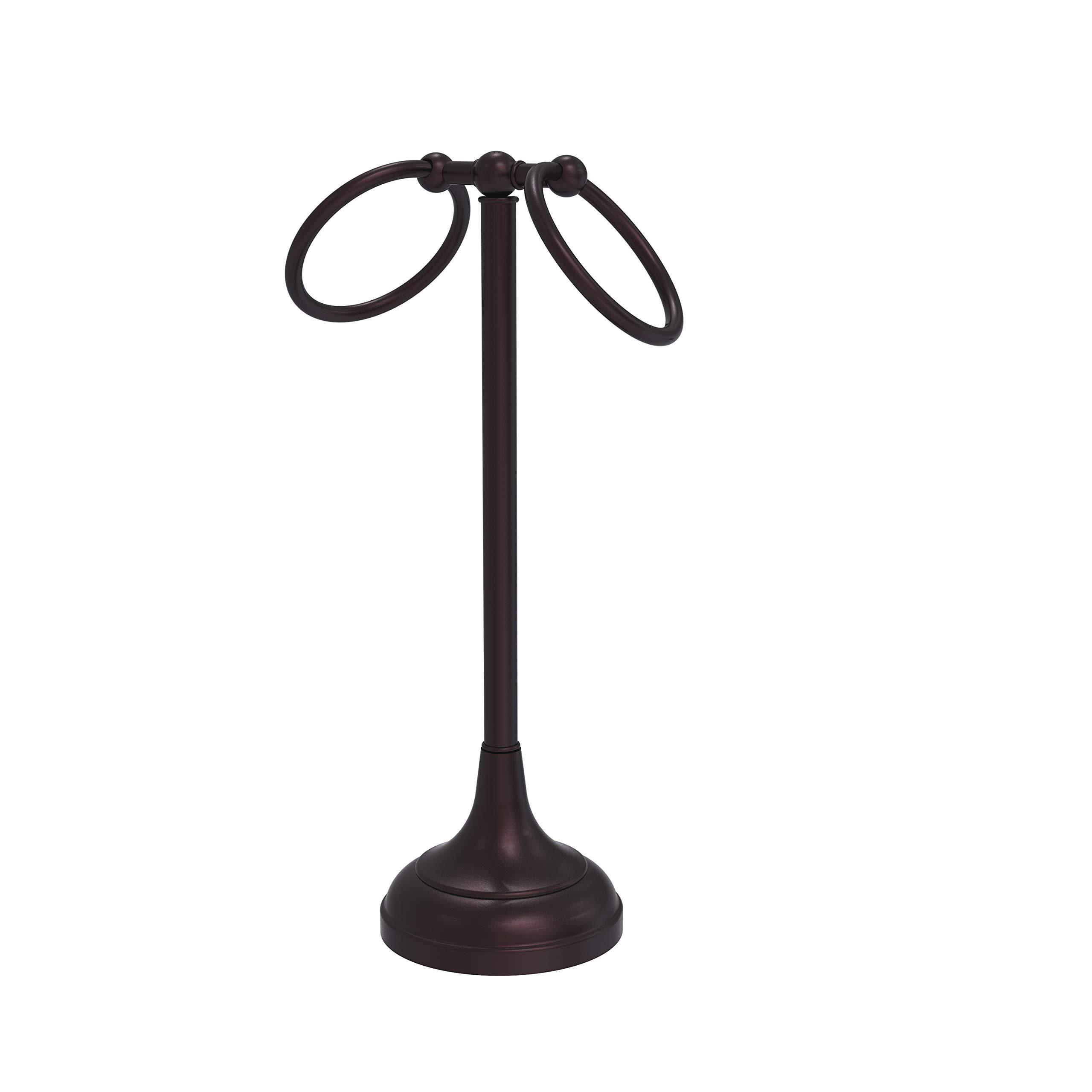 Allied Brass TR-12 Vanity Top 2 Ring Guest Towel Holder, Antique Bronze
