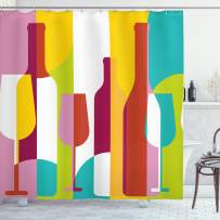 """Ambesonne Wine Shower Curtain, Colorful Abstract Wine Bottle Glass Silhouettes Modern Party Drinks Geometric Design, Cloth Fabric Bathroom Decor Set with Hooks, 75"""" Long, Yellow Magenta"""