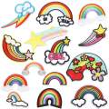 Choco Mocha 14PCS Rainbow Patch Girls Iron On Rainbow Patches for Clothing Small Sew On Embroidered Decorative Appliques for Kids Pants Jeans Jacket Clothes, Rainbow