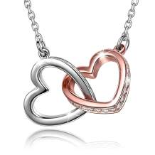 I Love You Forever Pendant Necklace/Double Love Heart Necklace, 925 Sterling Silver Necklace for Women, Jewelry Birthstone Necklaces for Women Mother Girl with Jewelry Gift Box