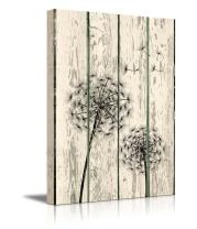 "wall26 - Canvas Prints Wall Art - Dandelion on Vintage Wood Board Background Rustic Home Decoration - 18"" x 12"""