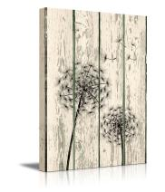 """wall26 - Canvas Prints Wall Art - Dandelion on Vintage Wood Board Background Rustic Home Decoration - 36"""" x 24"""""""