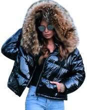 Roiii Women Winter Warm Down Jacket Thick Slim Flash Coat Down Outdoor Hood Parka Short Slim Jacket Black