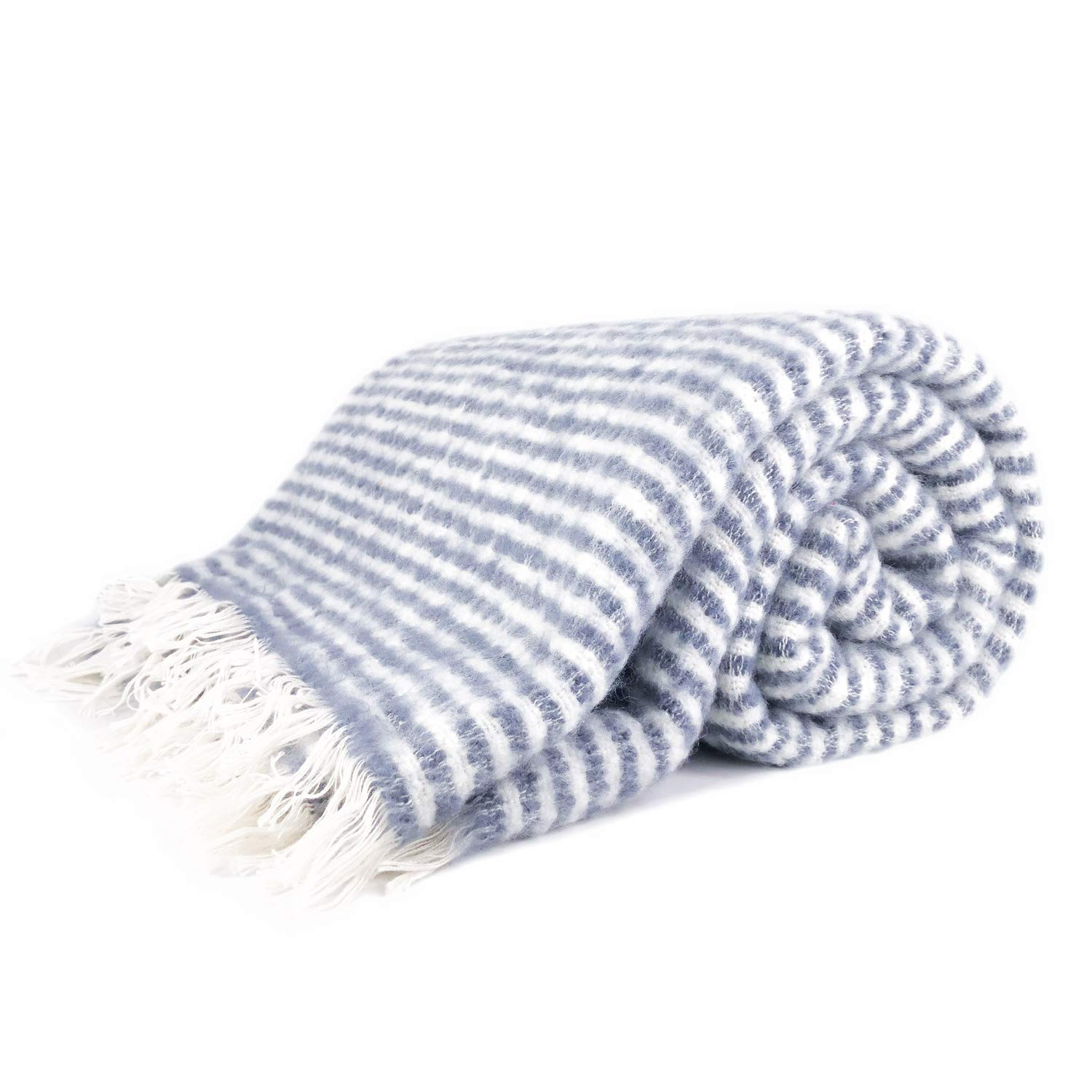 Super Soft Cozy Ticking Striped Brushed Weave Fluffy Throw Blanket for All-Season, Home Decor Stripe Blankets with Tassels for Bed Sofa Couch Chair, 50 x 60 Inches, Blue, White