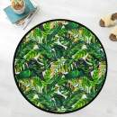 Naanle Palm Leaf Anti Fatigue Round Area Rug, Tropical Leaf Non Slip Absorbent Comfort Round Rug Floor Carpet Yoga Mat for Entryway Living Room Bedroom Sofa Home Decor (3' in Diameter)