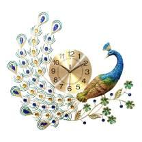 LANGSHI Peacock Wall Clock Large Clocks Battery Powered