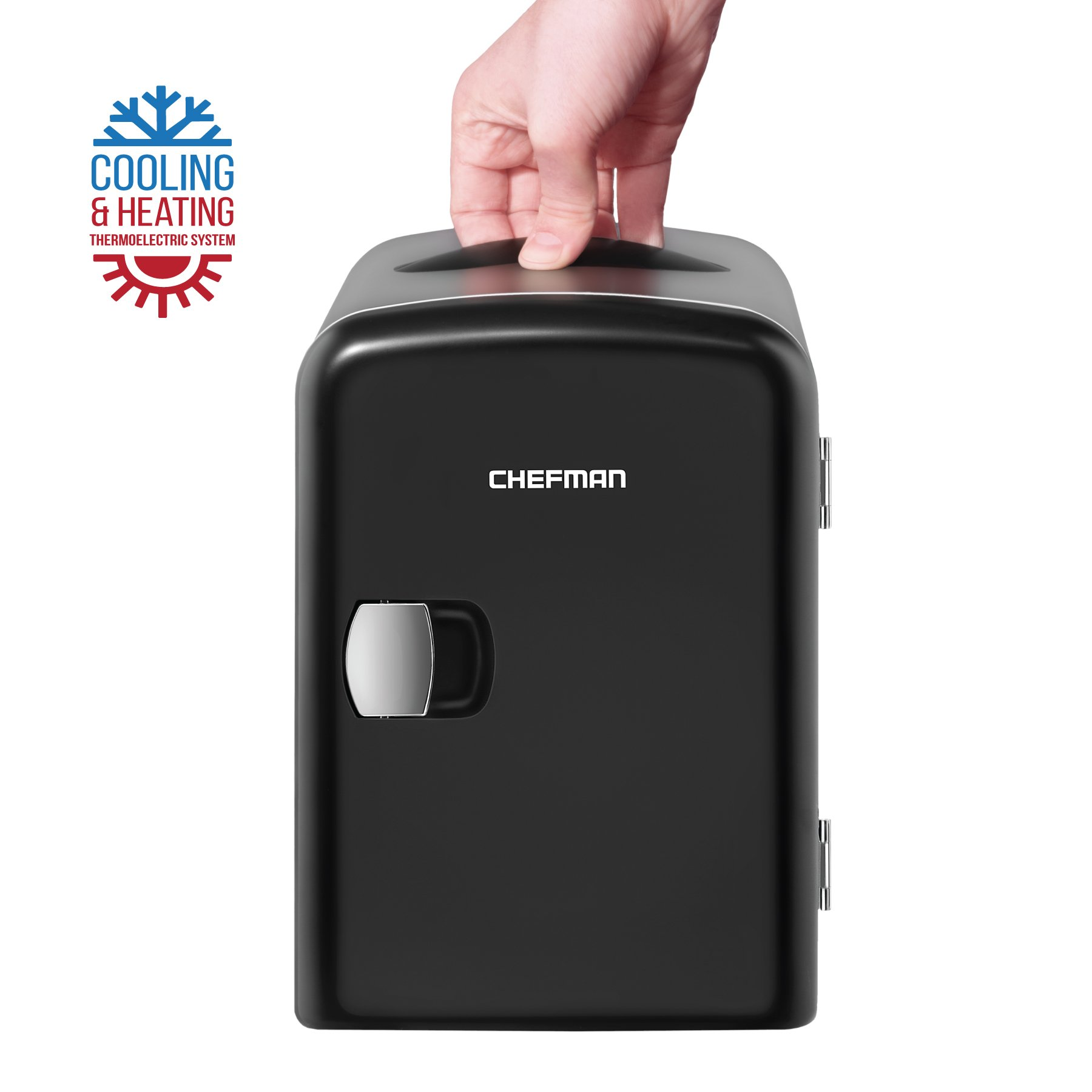 Chefman Mini Portable Compact Personal Fridge Cools & Heats, 4 Liter Capacity Chills Six 12 oz Cans, 100% Freon-Free & Eco Friendly, Includes Plugs for Home Outlet & 12V Car Charger, Black
