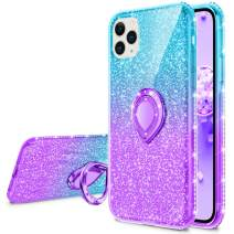 VEGO Compatible for iPhone 11 Pro Max Case Bling, Glitter Gradient Ombre Ring Holder Kickstand Women Girls Diamond Rhinestone Sparkly Case (Teal Purple)