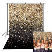 ZGWJ Gold Glitter Photo Backdrop Sequin Spot Photo Booth Background Starry Sky Shining Party Birthday Prom Wedding Newborn Photography Studio Props Party Decor(5x7ft)