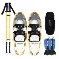 """Carryown 4-in-1 Xtreme Lightweight Terrain Snowshoes for Adults Men Women Kids, Light Weight Aluminum Alloy Terrain Snow Shoes with Trekking Poles and Waterproof Leg Gaiters, 14"""" /21""""/ 25""""/ 30"""""""