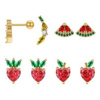 14K Gold Plated Fruit Stud Earrings Set Cute Tropical Fruit Pineapple Cherry CZ Cartilage Helix Earrings for Women Girls Christmas Gift