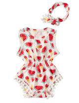 TUONROAD Newborn Toddler Baby Girls Floral Onesie Sleeveless Pom Pom Romper Bodysuit with Headband 0-24 Months