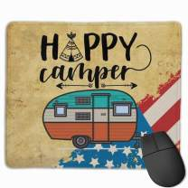 Mouse Pad with Design Happy Camper American Flag Design for Computer Office Gaming,11.8x9.8x0.09 Inch