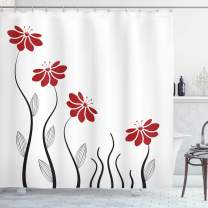 "Ambesonne Flower Shower Curtain, Floral Petals with Striped Leaves and Lines Modern Style Geometrical Design Print, Cloth Fabric Bathroom Decor Set with Hooks, 75"" Long, Red Black"
