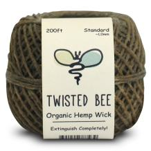 Twisted Bee 100% Organic Hemp Wick with Natural Beeswax Coating, (200ft x Standard Size)