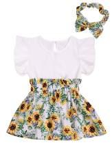 Xuuly Baby Girl Clothes Ruffle Sleeveless Summer Princess Tutu Sunflower Skirt with Headband Dress Set(2-3 Year) White