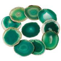 rockcloud 10 Pcs Agate Light Table Slices, Healing Crystals Geode Stones,Irregular Home Decoration Jewelry Making,Round,Green