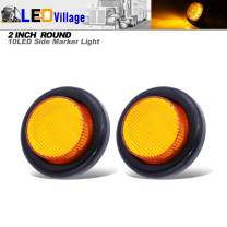 [Pack of 2] Ledvillage 2 Inch Amber LED 10 Diodes 12V DC Round Side Marker Light Utility Clearance Lamp Reflector for Trailer Bus Truck RV Lorry Van Campervan with Black Grommets Flush Mount OJ12