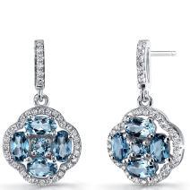 London Blue Topaz Clover Dangle Drop Earrings Sterling Silver 2.5 Carats
