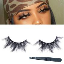Real 3D Mink Lashes, 23mm False Eyelashes Dramatic Thick Long Type 100% Siberian Mink Fur Lashes Hand Made Strips Reusable Fake Eyelashes for Women Makeup 1 pair SWINGINGHAIR