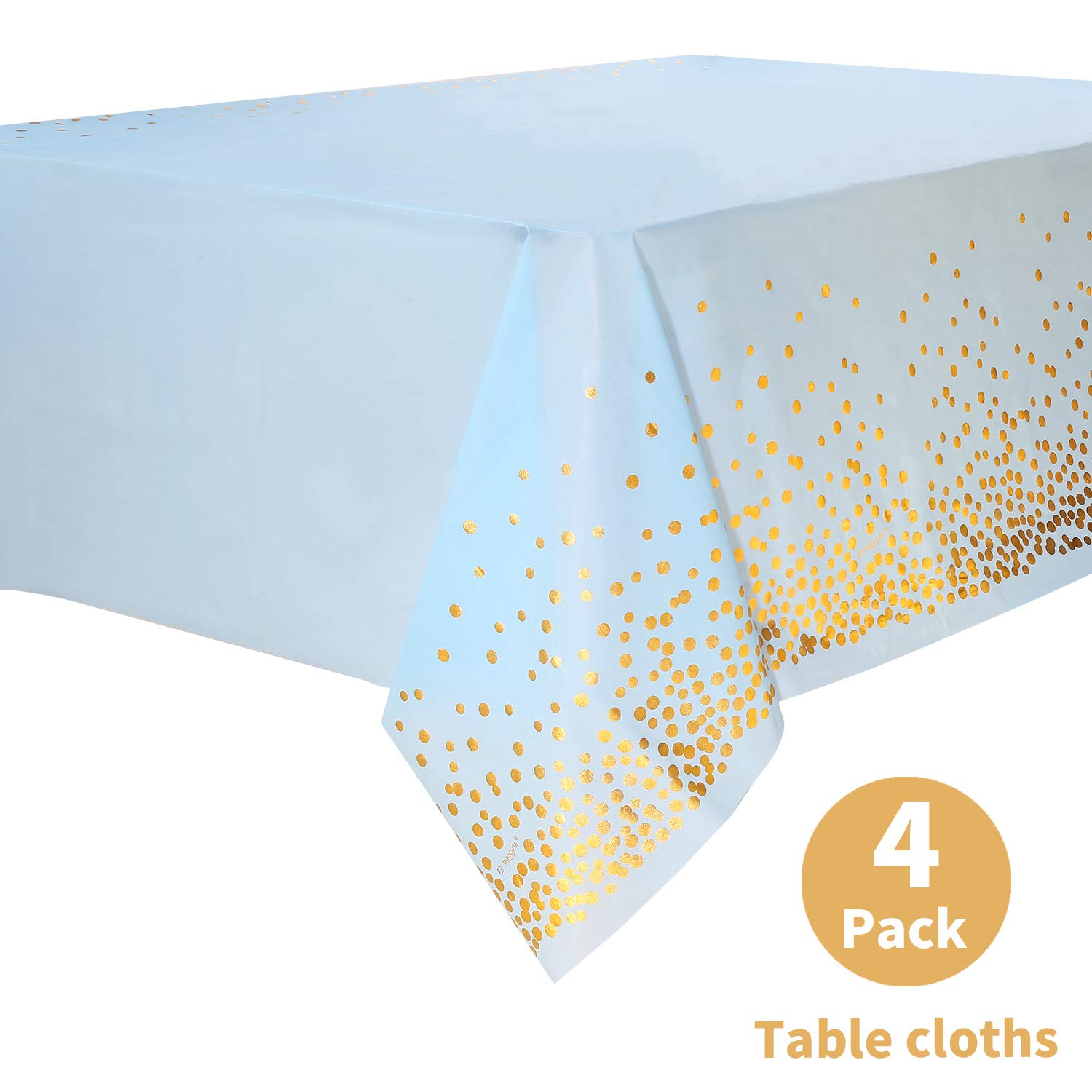 """Duocute Blue Disposable Party Tablecloth for Rectangle Table, Gold Stamping Dot Confetti Rectangular Plastic Table Cover, for Baby Shower and Boy Birthday, 54"""" x 108"""", Pack of 4"""