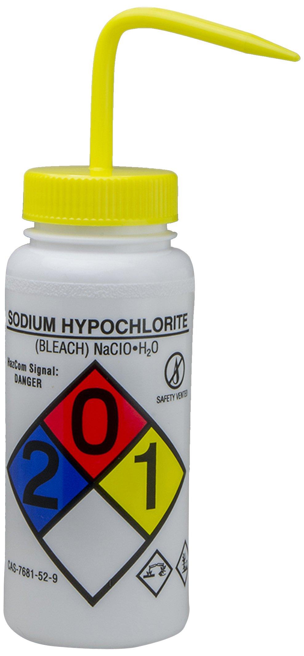 Bel-Art GHS Labeled Safety-Vented Sodium Hypochlorite (Bleach) Wash Bottles; 500ml (16oz), Polyethylene w/Yellow Polypropylene Cap (Pack of 4) (F12416-0015)