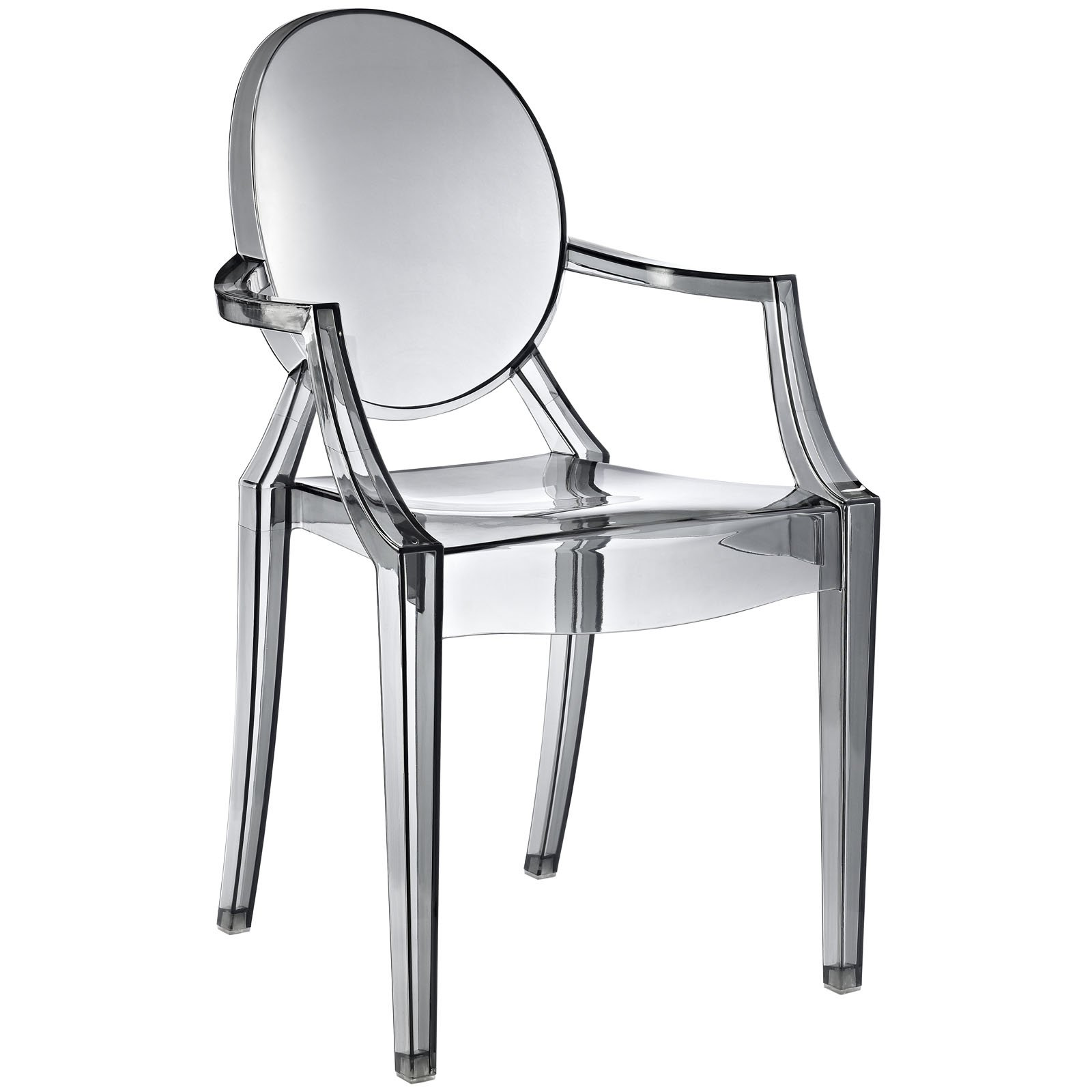 Modway Casper Modern Acrylic Stacking Kitchen and Dining Room Arm Chair in Smoke - Fully Assembled