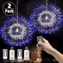LAMHO 2 Pack Firework Lights, 150 LED Fairy String Lights, Battery Operated Hanging Starburst Light, 8 Modes Dimmable with Remote Control Waterproof Copper Wire Lights for Home, Parties (White Blue)
