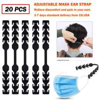 (3-7 Days Delivery) 20pcs Adjustable Mask Extender Ear Protector, Anti-Slip Comfortable Mask Extension Hook Strap Buckle To Relieve Discomfort and Pain In Your Ears Black