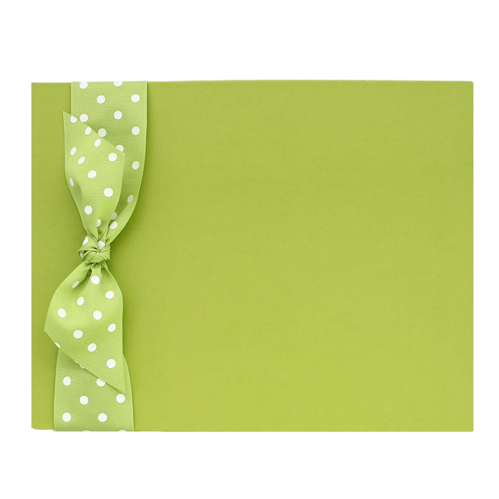 Tessera Baby Memory Book, Modern Gender-Neutral Baby Keepsake, Green Leather with Kiwi Dot Ribbon