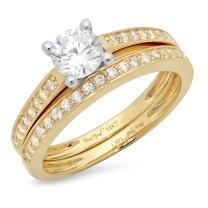 Clara Pucci 1.20 CT Round Cut Simulated Diamond CZ Pave Halo Bridal Engagement Wedding Ring Band Set 14k Yellow White Gold