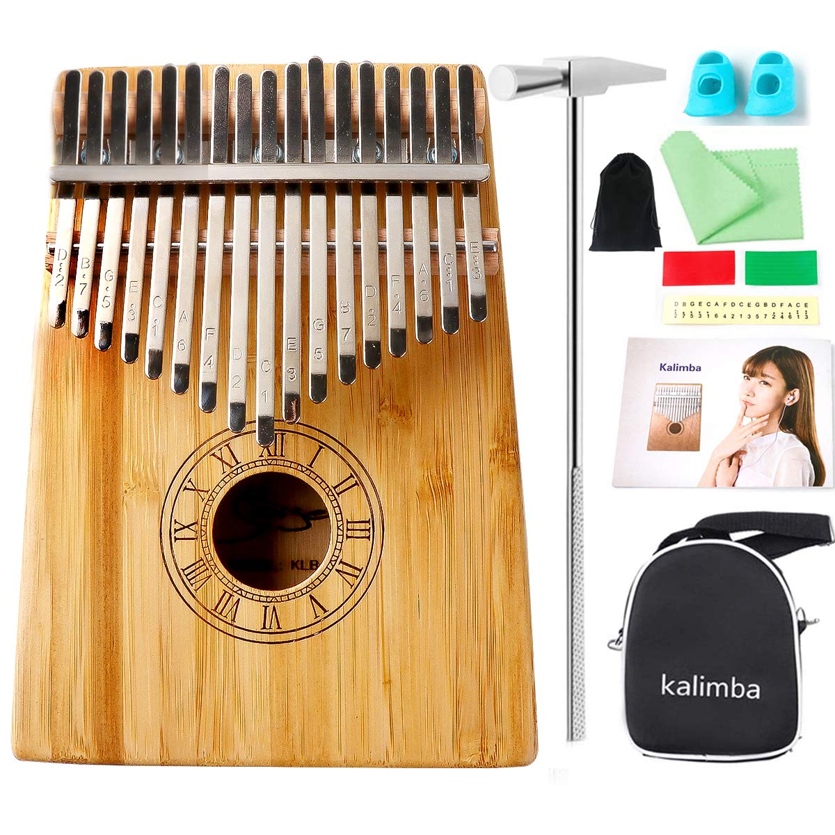 Smiger Kalimba 17 key Solid Bamaboo Wood High Gloss Thumb Piano Kalimbas Mini Musical Instrument with Tune Hammer Carrying Bag Study Book Portable Hand Piano for birthday party