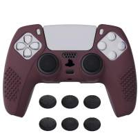 eXtremeRate PlayVital Wine Red 3D Studded Edition Anti-Slip Silicone Cover Skin for Playstation 5 Controller, Soft Rubber Case for PS5 DualSense Wireless Controller with 6 Black Thumb Grip Caps