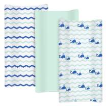"""TILLYOU Jersey Knit Changing Pad Covers 170 GSM - Thicker Softer Cradle Sheet Unisex Change Table Sheets for Baby Girls Boys- Fit 32""""/34'' x 16"""" Pad- Comfortable Cozy -3 Pack Ocean Theme"""