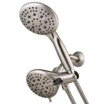 """Dual Shower Head Comb, High Pressure Shower Head Handheld/Rain with Stainless 5.74ft Hose 35 Spray Setting 5"""" Face Dual 2-in-1 Shower Heads System with 3-way Water Diverter, 2.5GPM-Brushed Nickel"""