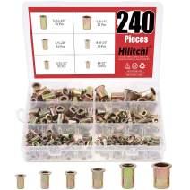 Hilitchi 240 Pcs UNC Rivet Nuts Threaded Insert Nut Assortment Kit, 5/32-32, 8-32, 10-24, 1/4-20, 5/16-18, 3/8-16 UNC Rivnut