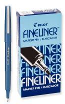 PILOT Fineliner Marker Pens, Fine Point, Blue Ink, 12 Count (11014)