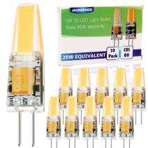 JAUHOFOGEI 10pcs G4 Bi Pin Base 2W LED COB Bulbs, 12V AC DC, 20W Glass Halogen Light Bulb Replacement, Warm White 2800K, JC T3 for Under Cabinet Puck Light, Landscape Lighting
