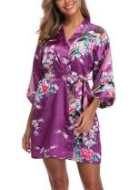 UrHot Women's Short Floral Kimono Robe Peacock and Blossom Bathrobe for Wedding Party