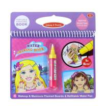 Jenilily Water Coloring Doodle Book, Reusable Drawing Book with Pen Painting Board, Educational Toy Travel Kits Gift for Age 3+ Kids Girls and Boys (Makeup & Manicures)