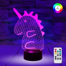 [ 7 Colors/3 Working Modes/Timer Function ] Remote and Touch Control Unicorn Night Lights, Dimmable LED Bedside Lamp for Children and Kid's Room