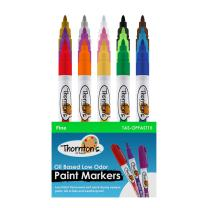 Thornton's Art Supply 15 Vibrant Premium Oil-Based Paint Craft Marker Pens 15-Count Fine Assorted Colors For Wood Glass Metal Stone and Ceramics | Safe For Kids | Opaque Pen for Craft